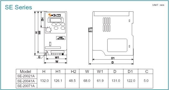 Kích thước biến tần Sanch ES Series